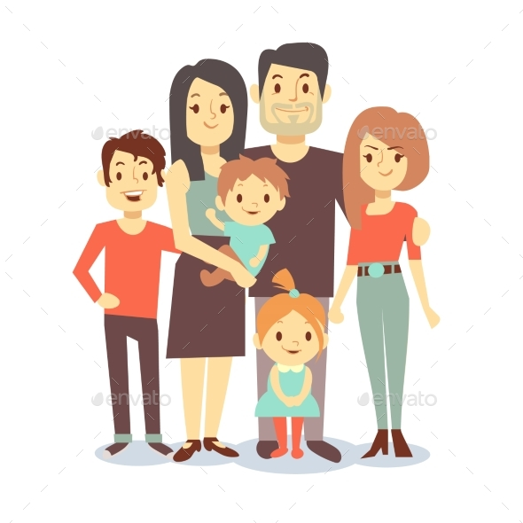 Cartoon Family Vector Characters in Casual