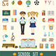 Set of School Icons in Flat Style. - GraphicRiver Item for Sale