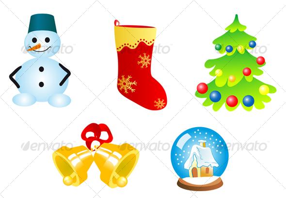 Five christmas icons and symbols