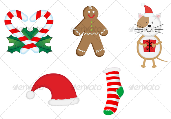 Christmas icons and symbols for design