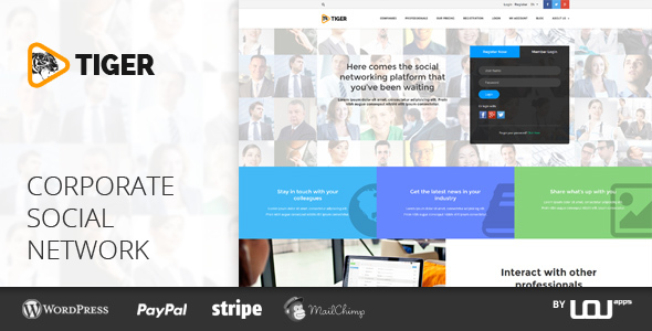 TIGER – Social Network Theme for Companies & Professionals