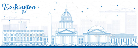 Outline Washington DC Skyline with Blue Buildings