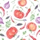 Tomato And Spices Fresh Watercolor Background - GraphicRiver Item for Sale