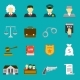 Law And Justice Flat Icons Set - GraphicRiver Item for Sale