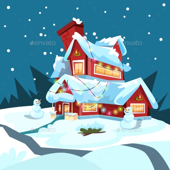 Christmas Eve Holiday House in Winter
