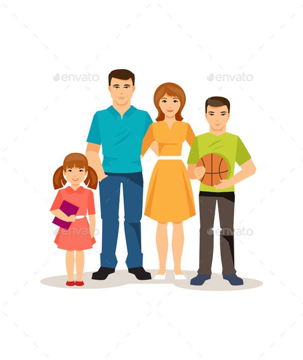 Cartoon Family On The White Background