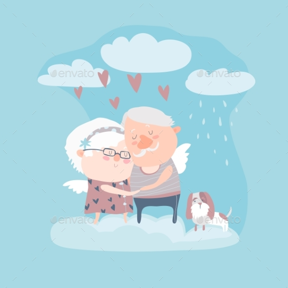 Couple Of Elderly Angels Hugging
