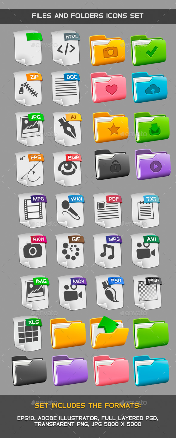 Files and folders icons set