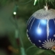 Blue Ball With Garland On a Christmas Tree - VideoHive Item for Sale