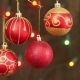 Red Christmas Balls Hanging On Strings. - VideoHive Item for Sale