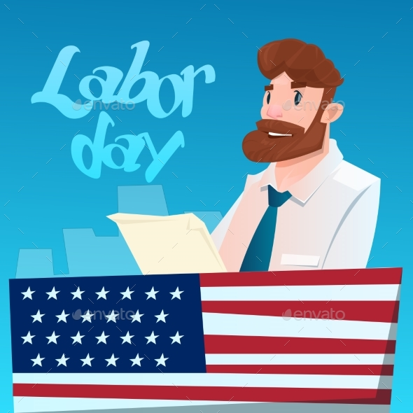 Business Man Hold Document American Labor Day USA
