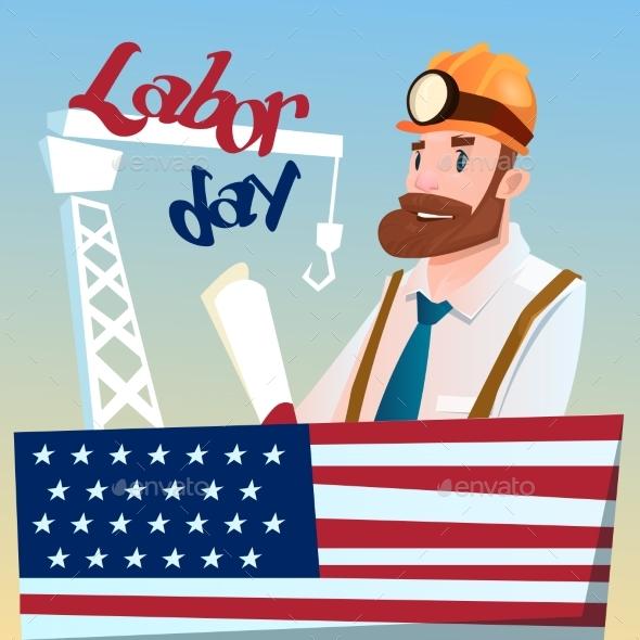 Worker Wearing Hard Hat, Builder Industrial