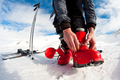 getting ready for skiing - fastening the boots - PhotoDune Item for Sale