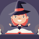 Smiling Witch with Book of Magic - GraphicRiver Item for Sale