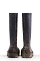 Dry dirty Mud boots isolated on pure white background back view - PhotoDune Item for Sale