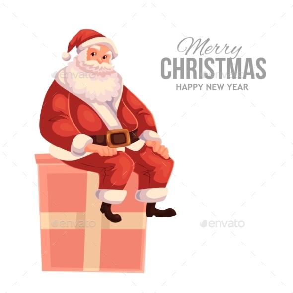 Greeting Card with Cartoon Santa Claus Sitting