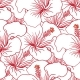 Red And White Hibiscus Seamless Pattern. Hawaiian - GraphicRiver Item for Sale