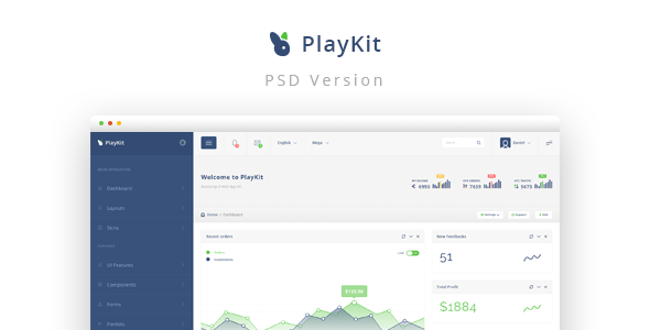 PlayKit - Web App PSD Template