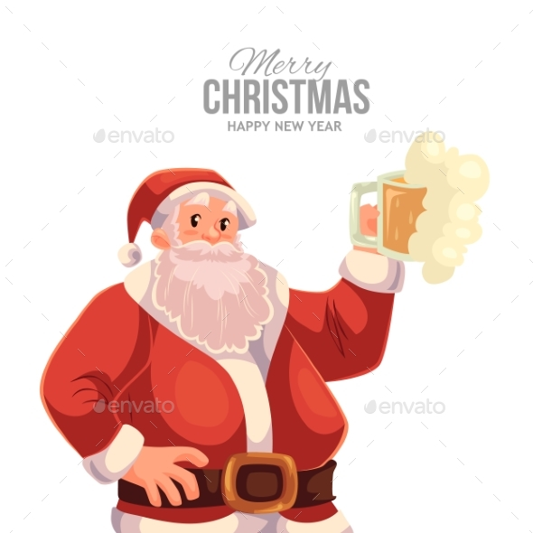 Greeting Card with Cartoon Santa Claus Raising Glass