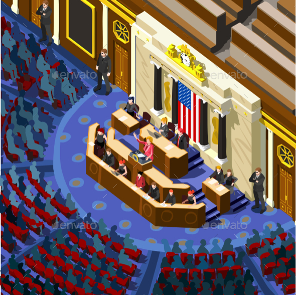 Election Infographic Congress Hall Us Vector Isometric People