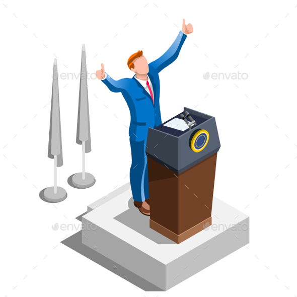 Election Infographic Party Congress Vector Isometric People