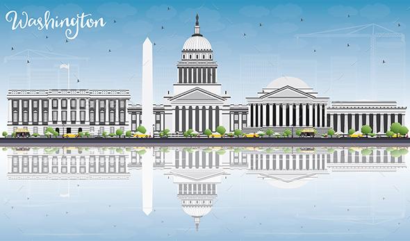Washington DC Skyline with Gray Buildings