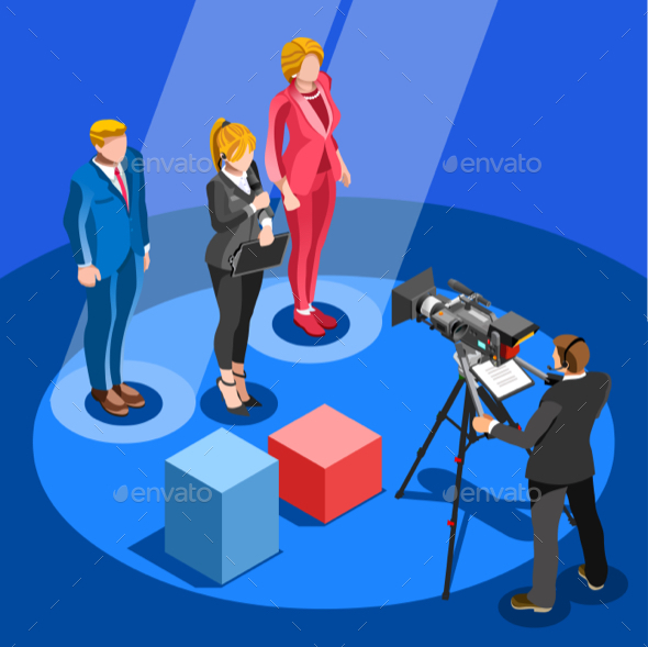 Election News Infographic Candidate Vector Isometric People