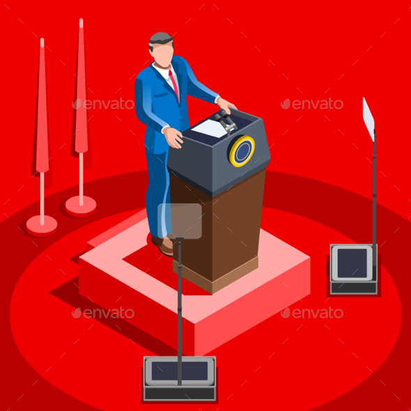 Election Infographic Lecture Hall Vector Isometric People