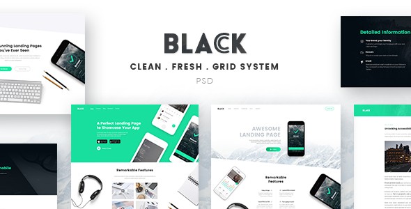 Black - Landing Page PSD Template