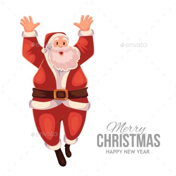 Greeting Card With Cartoon Santa Claus Jumping