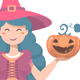 Halloween Cute Witch with Pumpkin - GraphicRiver Item for Sale