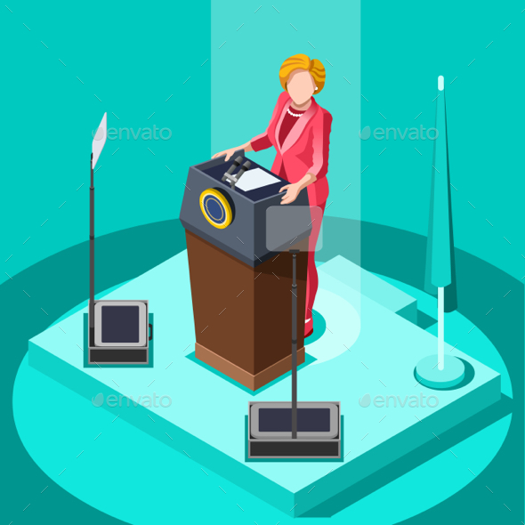 Election Infographic Politic Work Vector Isometric People