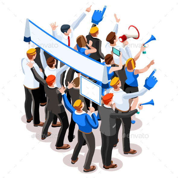 Election Infographic Speaker Audience Vector Isometric People