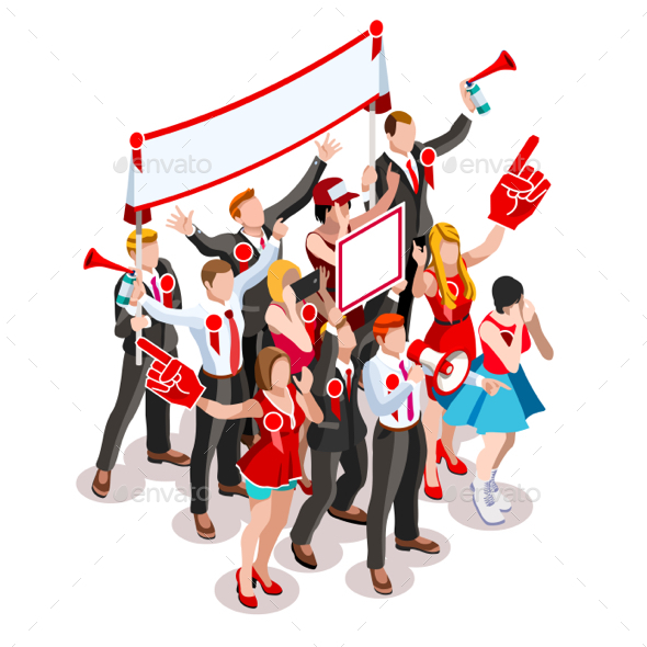 Election Infographic Crowd Rally Vector Isometric People