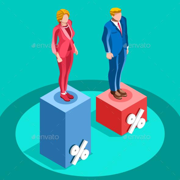 Election Infographic Pools Politics Vector Isometric People