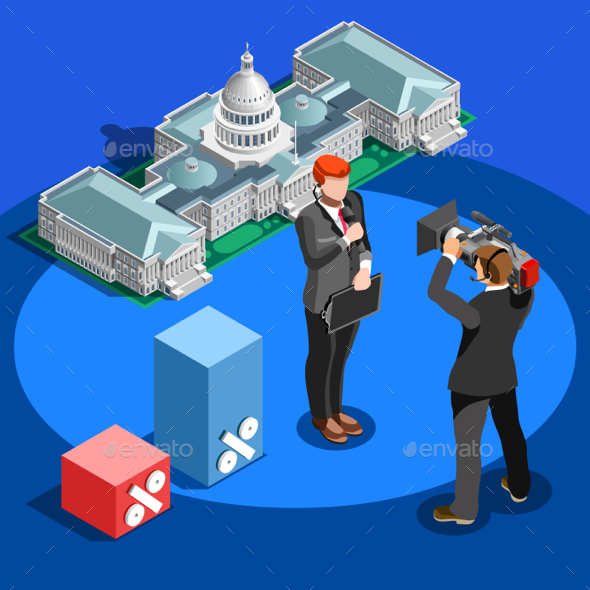 Election News Infographic Capitol Dome Vector Isometric People