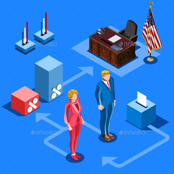 Election Infographic Us Presidential Vector Isometric People