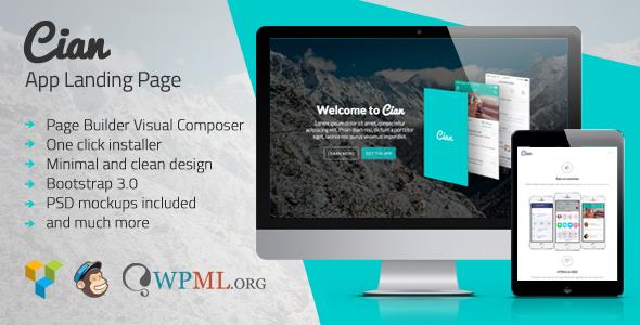 Cian – App Landing Page WordPress Free Download