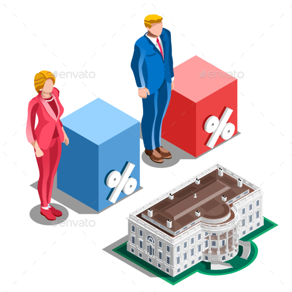 Election Infographic Presidential Pools Vector Isometric People