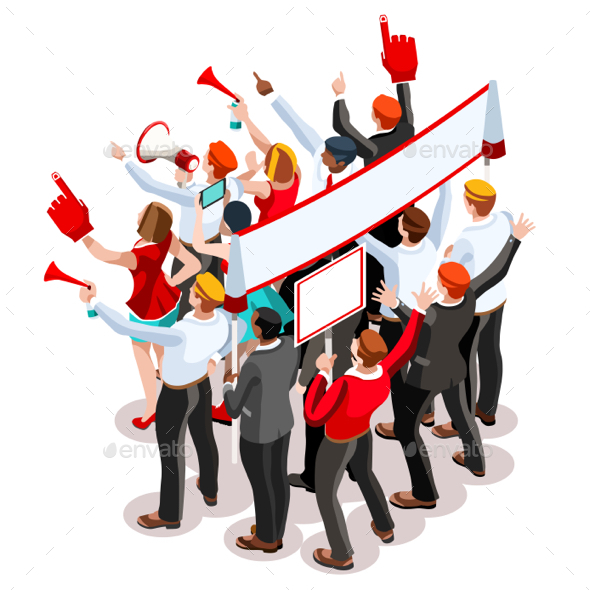 Election Infographic Theatre Crowd Vector Isometric People