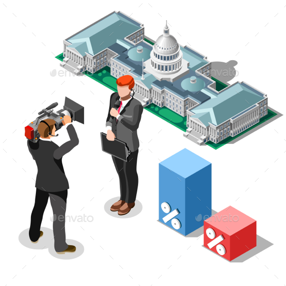 Election News Infographic Congress Vector Isometric People