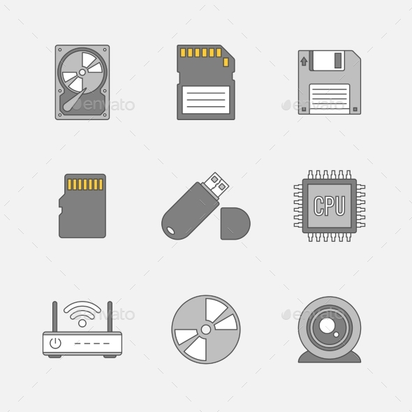 Data Storage Flat Line Icons