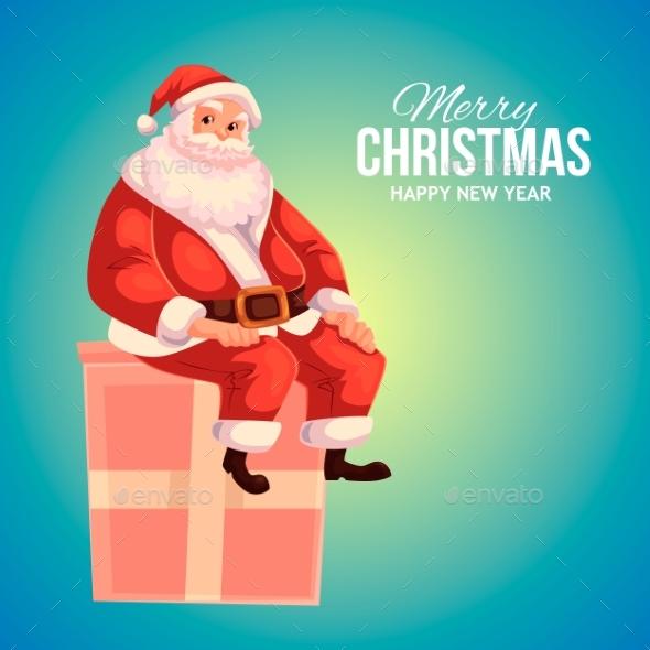 Greeting Card With Cartoon Santa Claus Sitting On