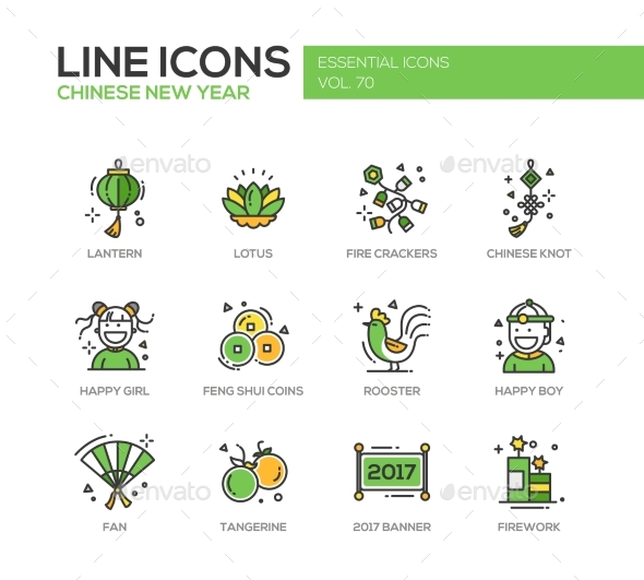 Chinese New Year - Line Design Icons Set
