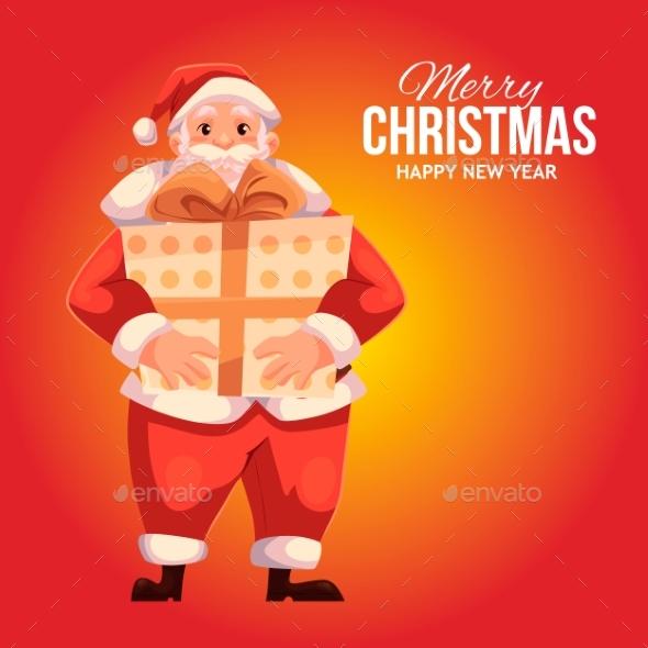 Greeting Card with Cartoon Santa Claus