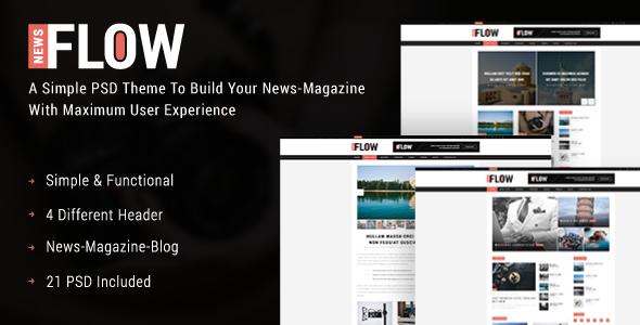 FlowNews - News and Magazine PSD Template