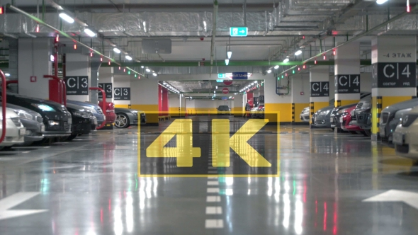 Many Cars Stand In Underground Parking In The City