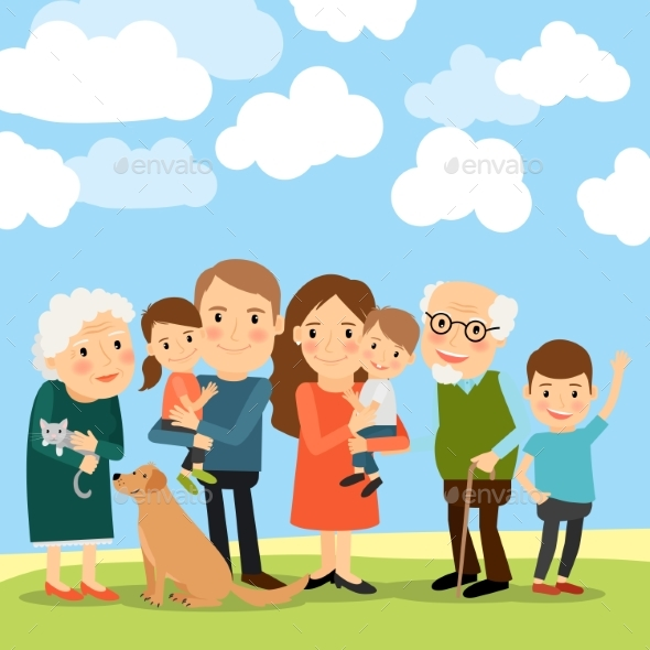 Big Family And Sky With Clouds