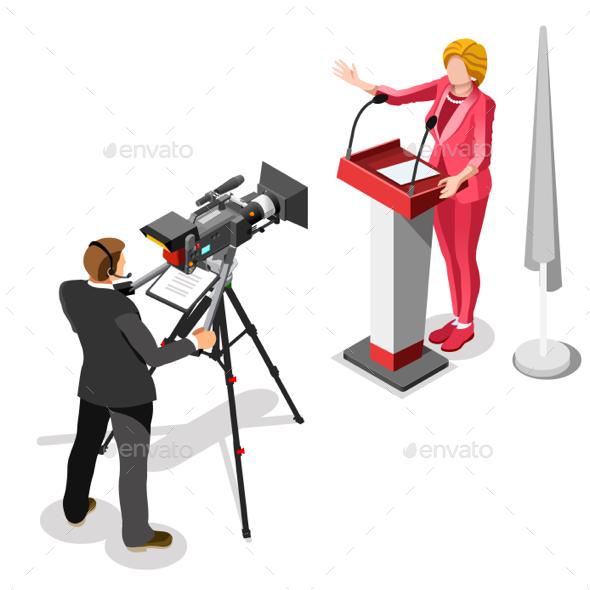 Election News Infographic US Spokeswoman Vector Isometric People