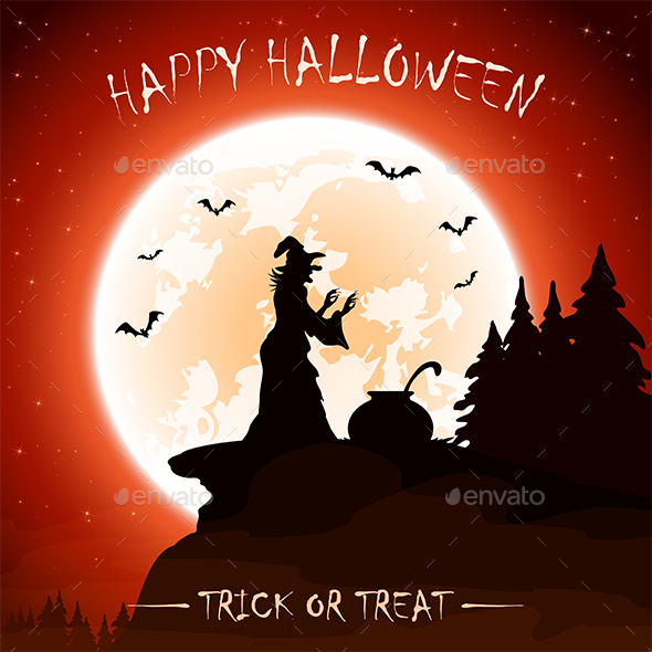 Halloween Theme with Witch on Moon Background